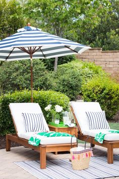 Our Preppy Backyard Lounge Area