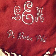 Monogrammed Pi Beta Phi blanket- great big/lil gift! #piphi #pibetaphi