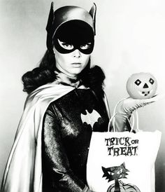 Yvonne Craig as Batgirl gets in the spirit of Halloween, 1960s. #vintage #1960s #Batgirl #Batman #Halloween