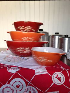 Vintage Pyrex Autumn Harvest  Cinderella  4 piece Mixing Bowl set. on esty for sale fall thanksgiving decor