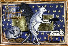 Three cats: sleeping, reaching into a bird cage, and lifting a mouse off a nest of eggs.13th. c. MS. Bodl. 764