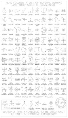 Demons and their Sigils of Summoning, Occult Geometry, and Neon Spirits