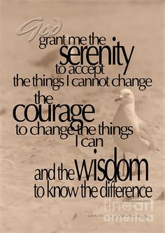 grant me the serenity to accept the things I cannot change.