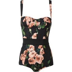 DOLCE & GABBANA Cotton-Blend Floral Printed Body ($1,050) ❤ liked on Polyvore