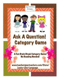 Ask A Question! Category Game -Play at a table or take a movement break  and have your students ask/ answer questions to win by connecting 3. A great game for using CCSS speaking skills! $