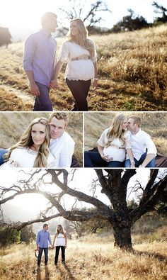 Incredible lighting and use of landscape in the top and bottom shots. I love the pose in the top photo and middle right photo. From Megan Ann Photography found on the On To Baby blog.