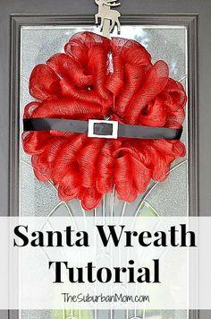 We love this Santa Christmas Wreath Tutorial #BgoshBelieve
