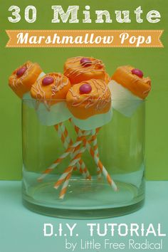Need a quick treat for a baby shower or party? Marshmallow pops are cheap, quick & easy! #baby #shower #party #favor