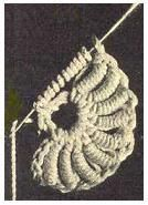 Roll or Bullion Crochet Stitch Instructions and Photo