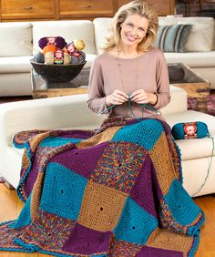 Do-It-In Squares Throw Crochet Pattern  #crochet  #blanket  #afghan  #redheartyarns