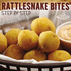 Looking for the perfect appetizer to impress your guests for the Big Game? Try this delicious jalapeño poppers recipe, or as we like to... popper recipes, yummi yummi, rattle snake bites, rattlesnak bite, texas roadhouse recipes, rattlesnake bites recipe, snakes, copycat recipes, finger food