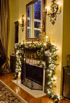 christmas fire mantle