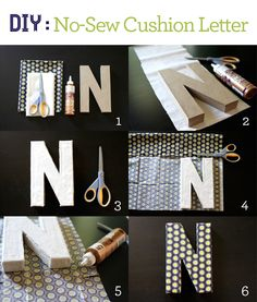 DIY: No-Sew Cushion Letter via brewedtogether.com - Perfect for a baby or younger childrens room. #diy #kids