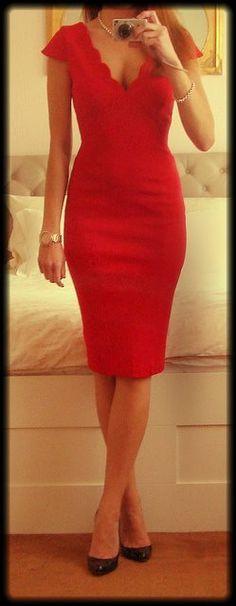 Jane Norman Scallop Neck Ponti Dress .... love the neckline, love the length.