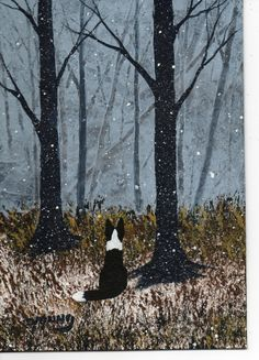 Border Collie dog Winter LARGE Art PRINT by Todd by ToddYoungArt,