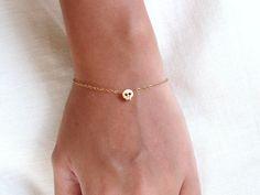 Tiny gold skull bracelet - Gold filled - dainty everyday jewelry