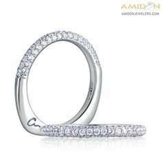 A Jaffe 18kt White Gold French Pave Wedding Band
