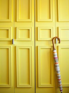 5 DIY Ways to Upgrade Rental Closet Doors3. Give them an architectural lift. Janet used low-cost canvas stretcher bars from the art supply store and attached them with 3M adhesive strips. DIY from Janet Lee via Curbly.