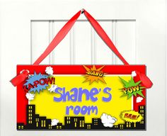 Kids door signs Boys Super Hero Comics bedroom nursery art decor personalized name - yellow background. $8.99, via Etsy.
