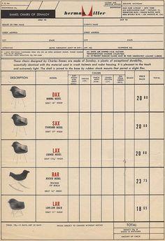 Herman Miller 1951 Order Form