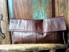 Brown Leather Clutch by VintageChase on etsy