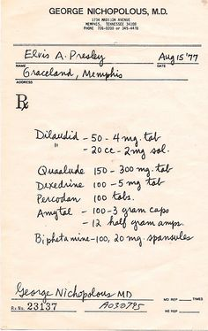 The overmedicated Elvis Presley's 1977 prescription!