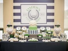 Golf themed baby shower dessert table! See more party planning ideas at CatchMyParty.com!