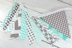 Bunting Fabric Banner, Fabric Flags, Nursery Decor, Birthday Decoration, Baby Shower - Mint Green, Grey, Gray, Chevron, Gingham, Houndstooth...