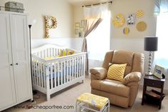 Gray and yellow nursery - complete DIY tutorials for all components of the room.