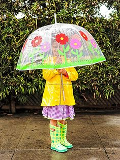 Flower Shower: Duct tape blossoms brighten an umbrella on a rainy day.