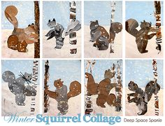 Squirrel art project for second grade winter art, birches, winter squirrel, art lesson, kid art, collag, credit cards, squirrel art, art projects