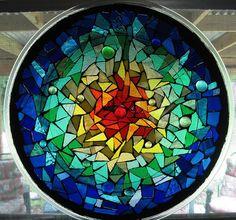 Rainbow Suncatcher by Elsieland Mosaics, via Flickr - using microwave plate