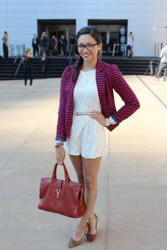 striped blazer + leopard