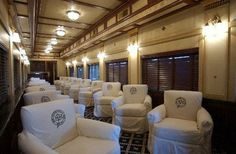 Inside a Pullman car...extreme comfort for long distance trips.
