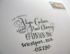 ladyfingers letterpress - love the hand lettered address!