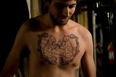 Boxing Cats Chest Tattoo by Myles Karr