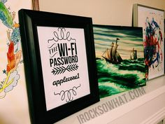 WI-FI password printable. Just customize with your own password, frame it, and put in guest room.