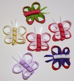 Girls Butterfly Hair Bow Set Infant Baby Toddler Childrens Kids Boutique Fashion Small Tiny Little Hair Clip Hairbows (Set of 6). $14.98, via Etsy.