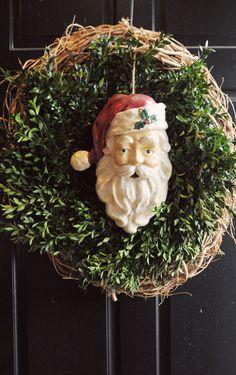 christmas wreaths, christma wreath, christma idea, santa wreath