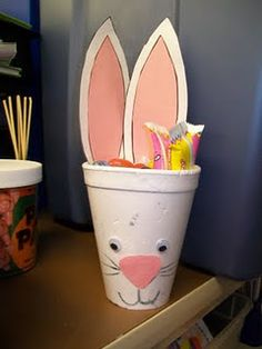Note to self: get smaller cups and fill with healthy snacks or candy and pass them out in juans class for easter