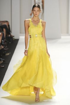 Carolina Herrera S/S 2012 fashion glamour, fashion clothes, karlie kloss, dress, spring summer, carolina herrera, gown, yellow, carolinaherrera