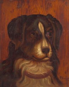 AMERICAN FURNITURE & DECORATIVE ARTS - SALE 2337 - LOT 827 - AMERICAN SCHOOL, 19TH CENTURY PORTRAIT OF A COLLIE. INDISTINCTLY SIGNED, L.R. OIL ON PANEL, C.... - Skinner Inc