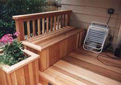 Cedar Deck Bench with Railing