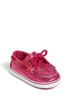 Glittery pink Sperry boat shoes for baby girls!