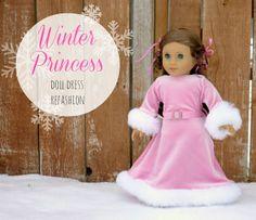 Free tutorial........refashion a baby dress into an American Girl Doll (18 inch doll) winter princess dress