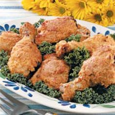 Crispy Baked chicken- made this tonight, but substituted corn flakes for Panko bread crumbs, added celery seed and paprika