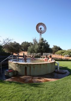 """Never had a stock tank this """"gussied up"""" and fancy to swim in - but in ranch country, it's either a stock tank or stock water hole if you want to go swimming(stock tanks are just a bit cleaner)."""