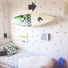 Surfboard on the wall, brilliant. #kids #decor #estella