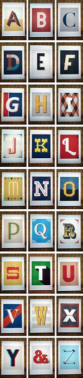 typography, letters, Vintage Type Prints by Red Headed Mess