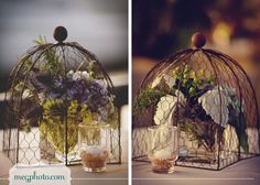 #wedding reception decor #centerpiece flowers #vintage #wire basket cloche dome
